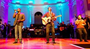 FCHA worship leader Winner Olmann (left), First Baptist worship leader Christian Ramos (center),  and FCE worship leader Angel Arce (right) lead a combined campus worship celebration.