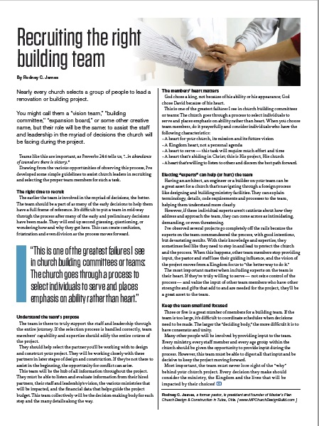 RECRUITING THE RIGHT BUILDING TEAM